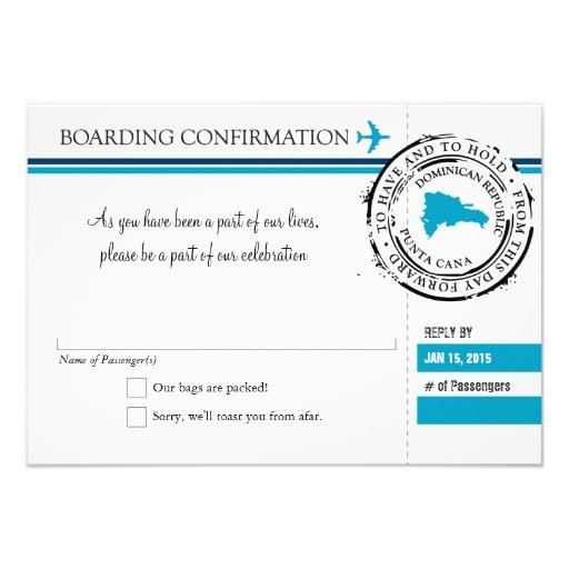 RSVP Boarding Pass TO Dominican Republic Personalized Invitations