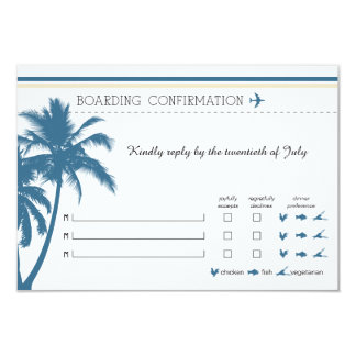 RSVP Boarding Pass TO Florida Blue & Cream Card