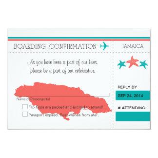 "RSVP Boarding Pass TO JAMAICA 3.5"" X 5"" Invitation Card"