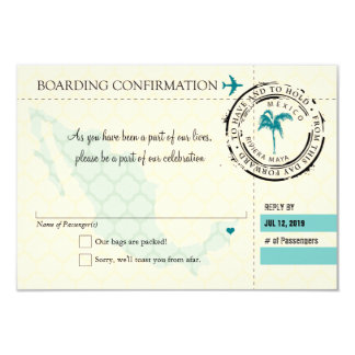 RSVP Boarding Pass TO Mexico 3.5x5 Paper Invitation Card