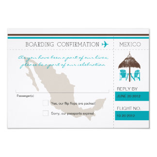 RSVP Boarding Pass TO Mexico Custom Announcements