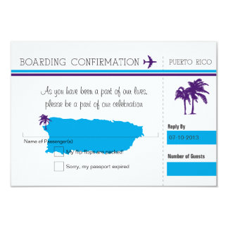 RSVP Boarding Pass TO Puerto Rico Card