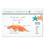 RSVP Boarding Pass TO St. Thomas 3.5x5 Paper Invitation Card