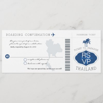 RSVP Boarding Pass to Thailand Wedding Invitation