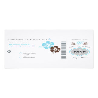 RSVP Boarding Pass Wedding 4x9.25 Paper Invitation Card