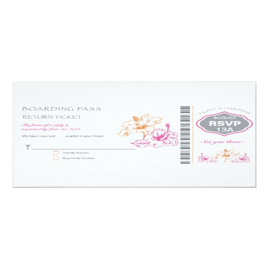 RSVP Boarding Pass Wedding Card