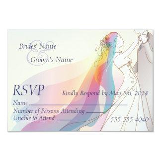 """RSVP - boda de la novia y del novio del arco iris Invitación 3.5"""" X 5"""""""