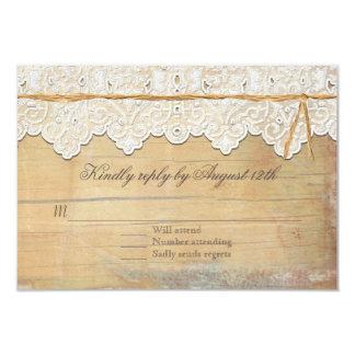 RSVP Boho Elegant Rustic Country Vintage Lace Wood Card
