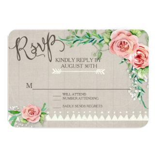 RSVP BOHO Flower Peony Babys Breath Wood Wedding Card