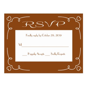 Professional Business RSVP Brown And White Heart Frame Postcard