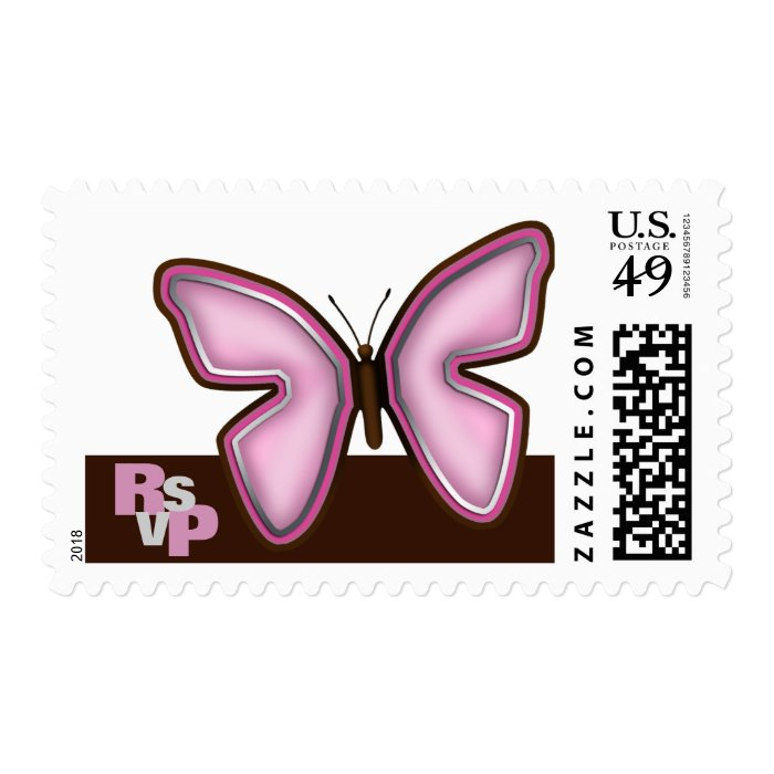 RSVP - Brown & Pink Butterfly Postage Stamps