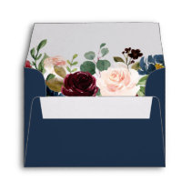 RSVP - Burgundy Blush Navy Blue Floral Address Envelope