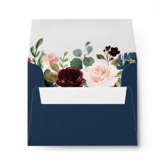 RSVP - Burgundy Blush Navy Blue Floral Address Envelope
