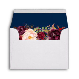 RSVP - Burgundy Floral Navy Blue & Return Address Envelope