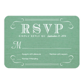 "RSVP Burlap Mint Green Rustic Deluxe Reply 3.5"" X 5"" Invitation Card"