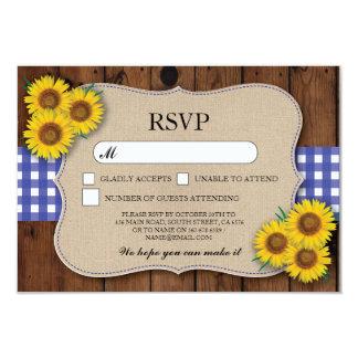 RSVP Burlap Wedding Wood Rustic Blue Check Cards