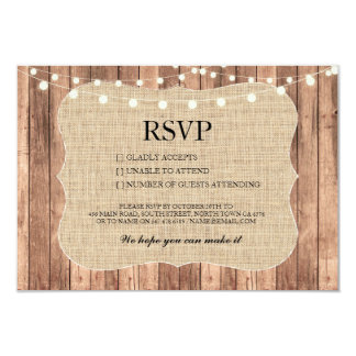 RSVP Burlap Wedding Wood Rustic Engagement Cards