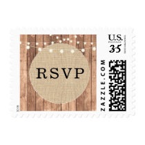 RSVP Burlap Wood Rustic Stamps Wedding Postage