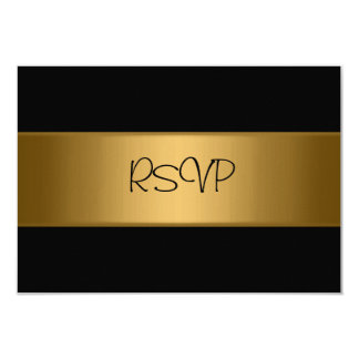 RSVP Card All Events Elegant Black Bronze Gold Personalized Announcement