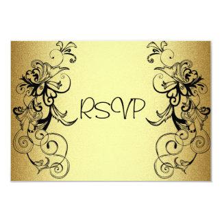 RSVP  Card All Events Elegant Gold Black Floral
