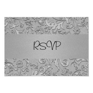 RSVP Card All Events Elegant Silver Metal Floral