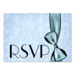 "RSVP Card Aqua Faux Satin Bow and Grunge Damask 4.5"" X 6.25"" Invitation Card"