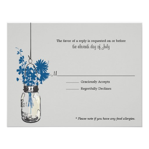 RSVP Card Blue Wild Flowers & Mason Jar Personalized Invites