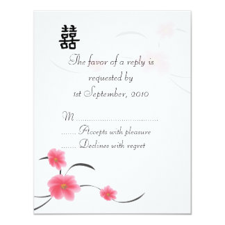 RSVP Card Cherry Blossom Double Happiness