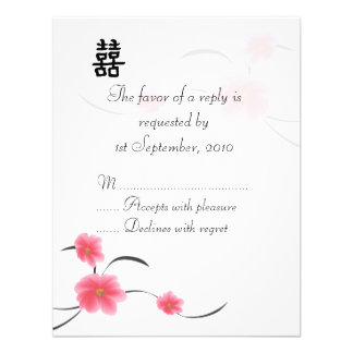 RSVP Card Cherry Blossom Double Happiness Personalized Invitation