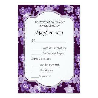 RSVP Card Cherry Blossoms Purple Sakura