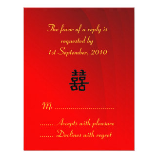 RSVP Card Chinese Double Happiness Collection Personalized Announcement
