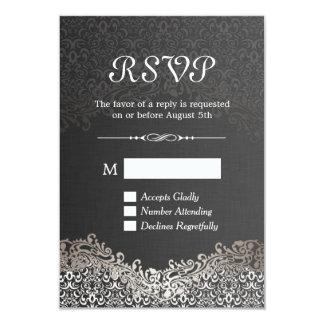 RSVP Card - Elegant Black Silver Damask