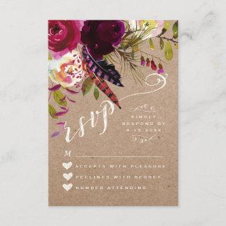 RSVP CARD   Elegant Floral Rustic Boho Rose Kraft