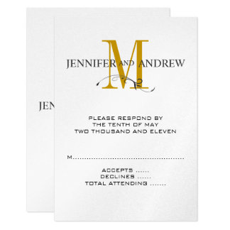 RSVP Card for Square Wedding Invite Gold Initial