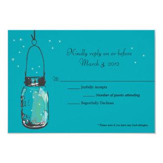 RSVP Card Mason Jar and Fireflies