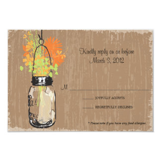 RSVP Card Mason Jar and Fireflies Personalized Invitations