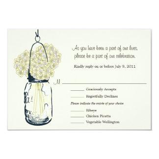 RSVP Card  Mason Jar and Hydrangeas