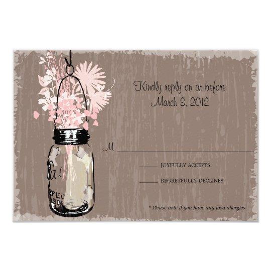 RSVP Card Mason Jar and Wildflowers