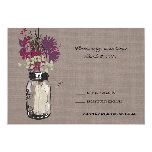 "RSVP Card Mason Jar and Wildflowers 3.5"" X 5"" Invitation Card"