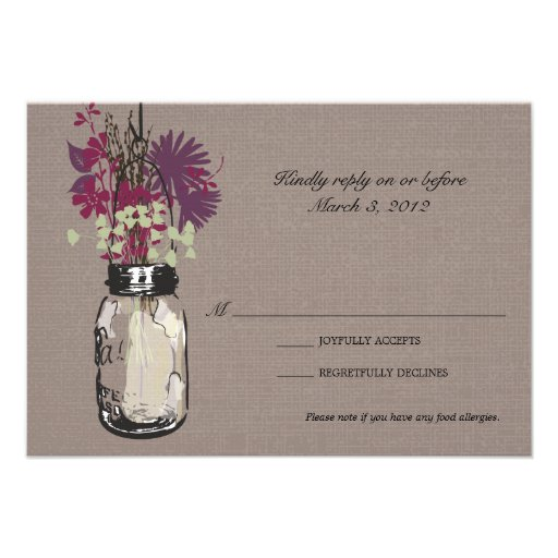 RSVP Card Mason Jar and Wildflowers Invites (front side)