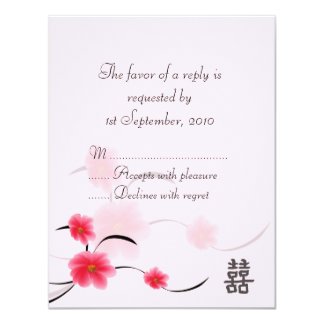 RSVP Card Pink Blossom Double Happiness