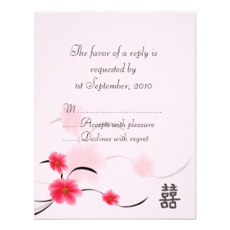 RSVP Card Pink Blossom Double Happiness Personalized Invitations