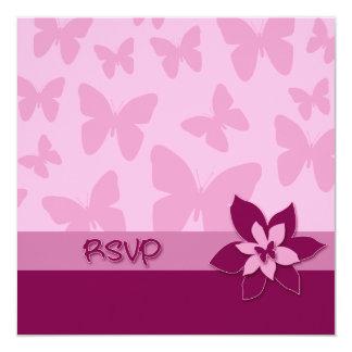 RSVP Card, Pink Butterflies, Dark Pink Flower Card