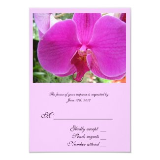RSVP card, pink orchid flower. Invite