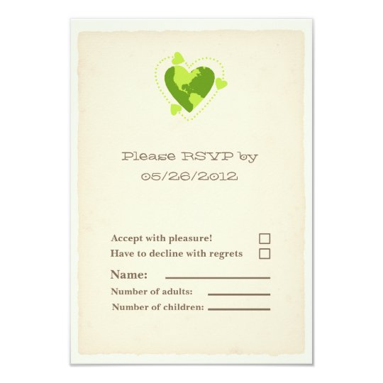 RSVP Card - Recycle Heart, Green Wedding