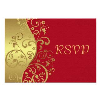 RSVP Card--Red & Gold Swirls