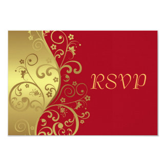 "RSVP Card--Red & Gold Swirls 3.5"" X 5"" Invitation Card"