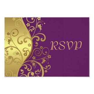 RSVP Card--Red Violet & Gold Swirls Card