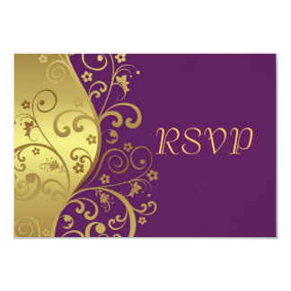 "RSVP Card--Red Violet & Gold Swirls 3.5"" X 5"" Invitation Card"