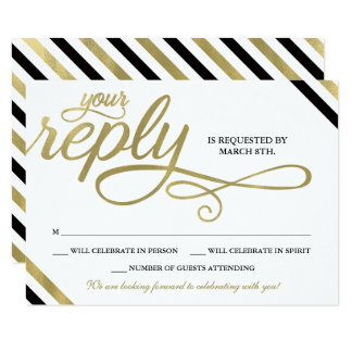 RSVP Card, Reply, Always & Forever, Faux Gold Card